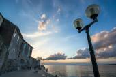 Evening Mood in croatian Harbor Town — Stock Photo