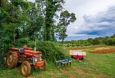 Agricultural Equipment and Tractor and Acre — Stock Photo