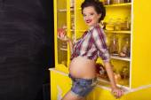Beautiful brunette woman on a 7th month pregnancy in plaid shirt — Stockfoto