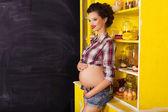 Beautiful brunette woman on a 7th month pregnancy in plaid shirt — Foto de Stock