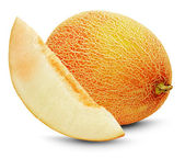 Ripe melon with slice on the white background — Foto de Stock