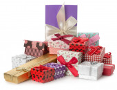 Pile of gifts on the  white background — Stock Photo