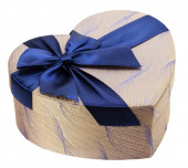 Heart-shaped gift box with blue bow — Foto Stock