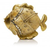 Golden fish sculpture isolated on the white background — Stock Photo