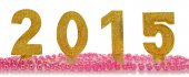 Golden 2015 Happy New Year on the white background — Stock Photo
