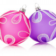 Pink and purple Christmas balls isolated on the white background — Stock Photo #57658221