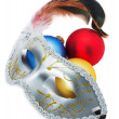 Carnival mask and Christmas balls isolated on the white backgrou — Stock Photo #57658243