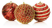 Christmas red balls with golden ornament isolated on the white b — Stock Photo