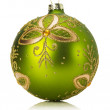 Green Christmas ball isolated on the white background — Stok fotoğraf #58223833