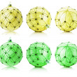 Set of yellow and green Christmas balls isolated on the white ba — Stock Photo #58224107