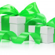 Gift boxes with green bow isolated on the white background — Stock Photo #58224245