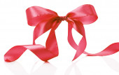 Red bow isolated on the white background — Stock Photo