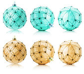Set of beige and turquoise Christmas balls isolated on the white — Stockfoto