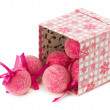 Pink Christmas balls with ornament isolated on the white backgro — Stock Photo #59478415