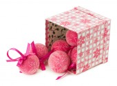 Pink Christmas balls with ornament isolated on the white backgro — Stock Photo