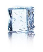 Cube of blue ice isolated on a white background — Stock Photo