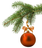Christmas tree branch with orange ball isolated on the white bac — Stock Photo