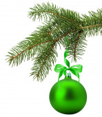 Christmas tree branch with green ball isolated on the white back — Stock Photo