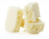 White aerated chocolate isolated on the white background — Stock Photo
