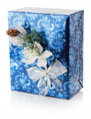 Blue Christmas gift box isolated on the white background — Stock Photo