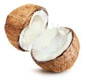 Coconuts with milk splash on white background — Stock Photo