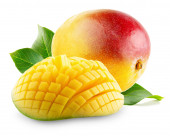 Mango with slices on a white background — Stock Photo