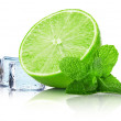 Lime slice with mint leaves and ice cubes isolated on the white — Stock Photo #62824659