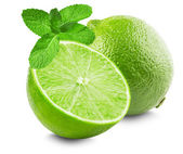 Lime with slice and mint leaves isolated on white background — Stock Photo