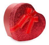 Red heart-shaped gift box isolated on the white background — Stock Photo