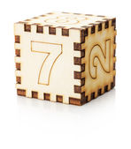 Wooden toy cube isolated on the white background — Stockfoto