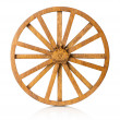 Wooden wheel isolated on the white background — Stock Photo #66152528