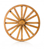 Wooden wheel isolated on the white background — Stock Photo