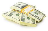 Stacks of US dollars bundle isolated on the white background — 图库照片