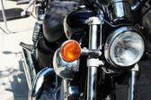 Close up photo of retro black motobike — Stock Photo