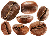 Collection of coffee beans isolated on the white background — Stock Photo