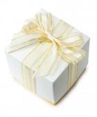 White gift box isolated on a white background — Stock Photo