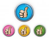 Buttons with thumb icon — Stock Vector