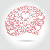 Human brain full hearts - love thinking, vector — Stock Vector