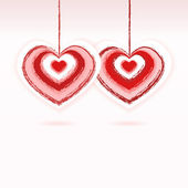 Two red and pink hearts - Valentines day vector — Stock Vector