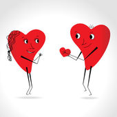 Two hearts whit face and body - give heart - vector — Stock Vector