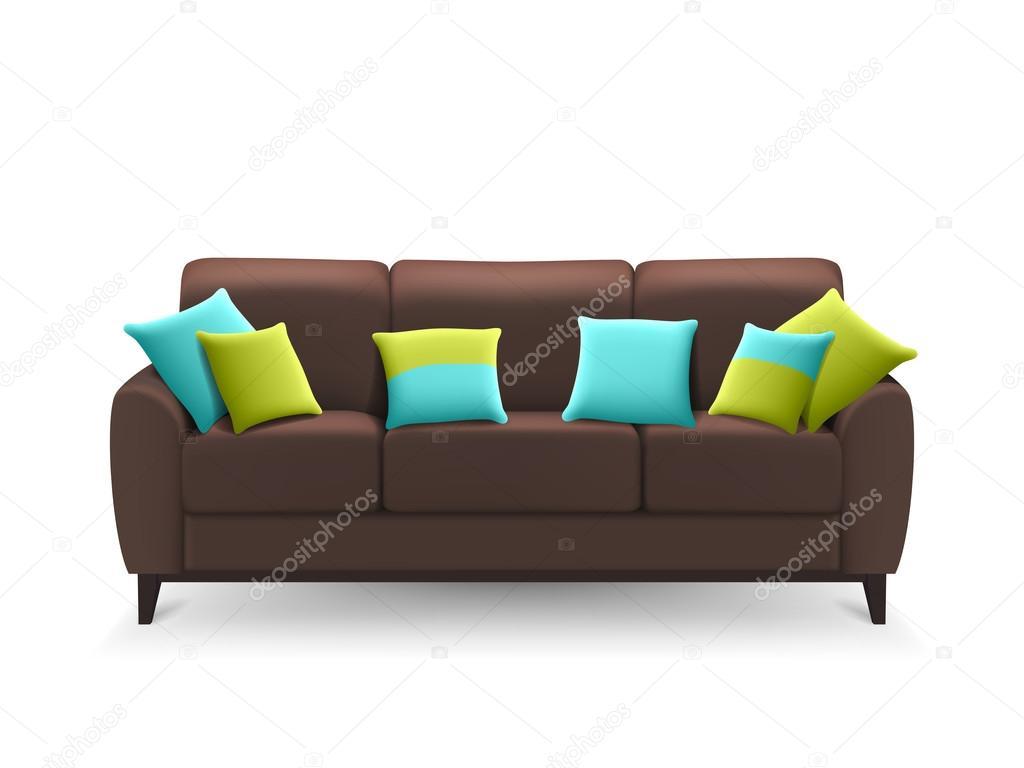 Sof marr n realista con cojines decorativos vector de - Fotos de cojines decorativos ...