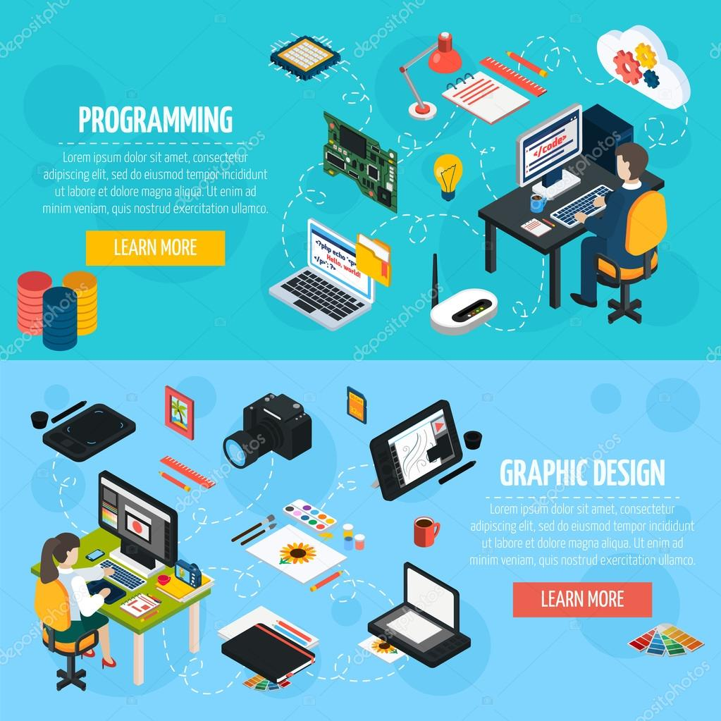 Programming And Graphic Design Isometric Banners Stock Vektor