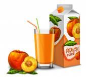 Peach juice set — Stock Vector