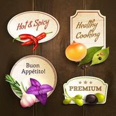 Herbs and spices badges set — Stock Vector