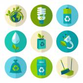 Ecology and waste flat icons set — Stock Vector