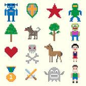 Game pixel characters — Stock Vector