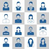 Avatar monochrome icons set — Stock Vector