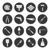 Builder instruments icons black — Stock Vector