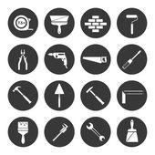 Builder instruments icons black — Stock Vector