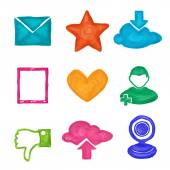 Social media icons painted — Stock Vector